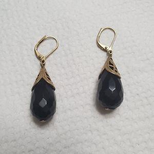 Black tear drop earrings gold finish